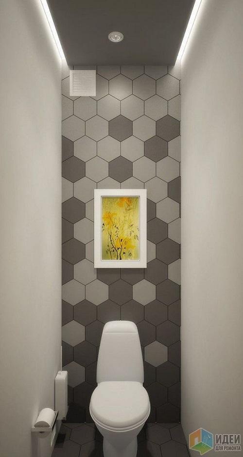 Đây cũng là một mẫu  WC  ốp lát gạch lục giác màu xám siêu sang