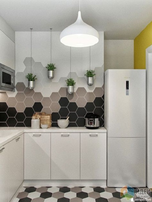 Gạch lục giác màu xám ốp bếp tạo cảm giác dễ chịu, mát mẻ cho người sử dụng