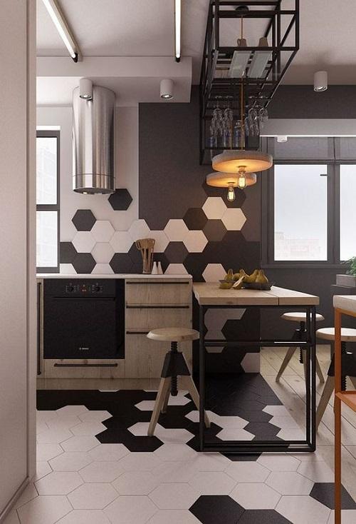 Gạch lục giác màu xám ốp bếp rất được ưa chuộng, nhất là ngôi nhà với phong cách hiện đại.