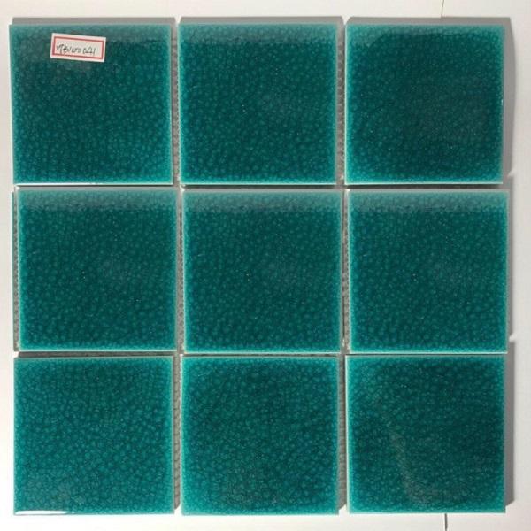 gach mosaic vuong 10x10 men ran mau xanh ngoc