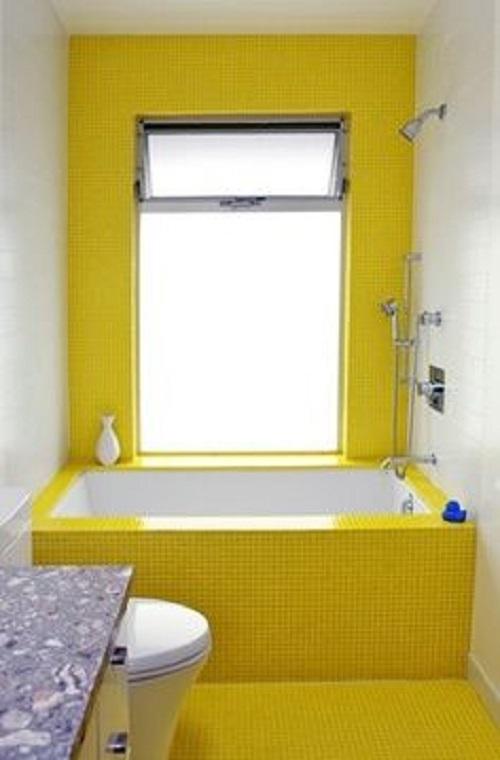 Màu vàng này là lựa chọn tốt nhất cho những không gian phòng vệ sinh có thiết kế đơn giản