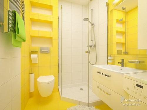 Gạch thẻ vuông màu vàng kết hợp với gạch thẻ vuông màu trắng cho một không gian đơn giản mà đẹp mắt