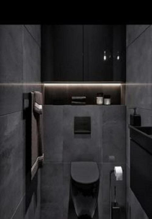 Gạch thẻ ốp tường màu đen cho nhà vệ sinh cao cấp trang trí thêm phụ kiện