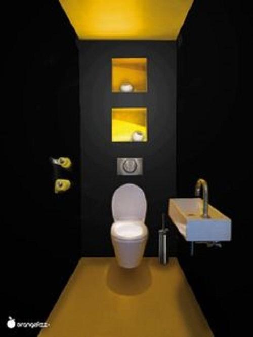 Thêm điểm nhấn với màu vàng trần, tường và lát nền