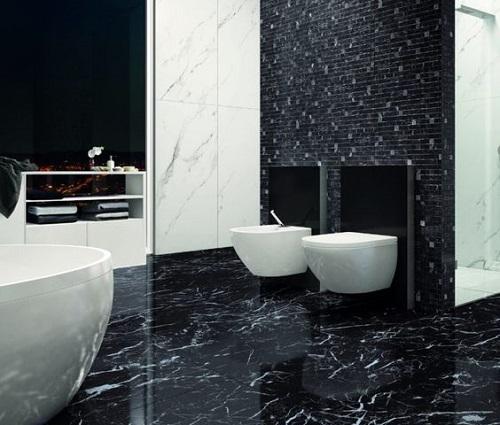 Gạch thẻ ốp tường màu đen cho nhà vệ sinh cao cấp kết hợp với màu trắng