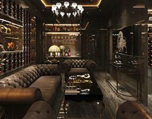 Gạch thẻ màu đen kết hợp với nội thất hiện đại