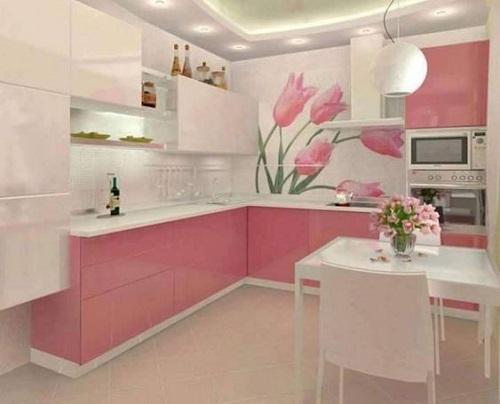 Đối với phòng bếp, những ô gạch màu hồng sẽ khiến không gian thêm ấm cúng