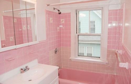 Gạch hồng cho phòng tắm của các công chúa