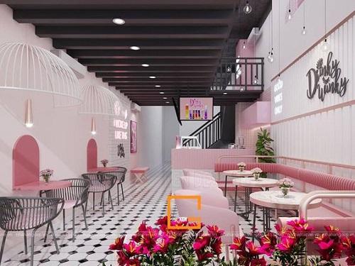Gạch thẻ màu hồng ốp tường trang trí