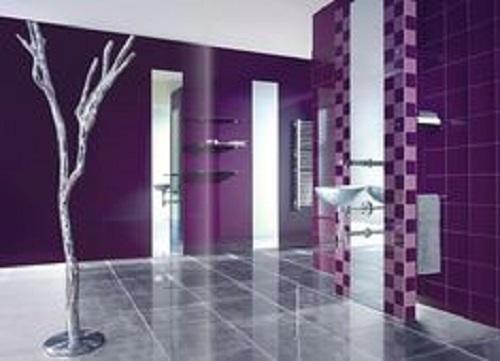 Gạch thẻ hình vuông nhỏ màu tím tạo ra không gian đẹp khiến người chiêm ngưỡng đánh giá cực kỳ cao