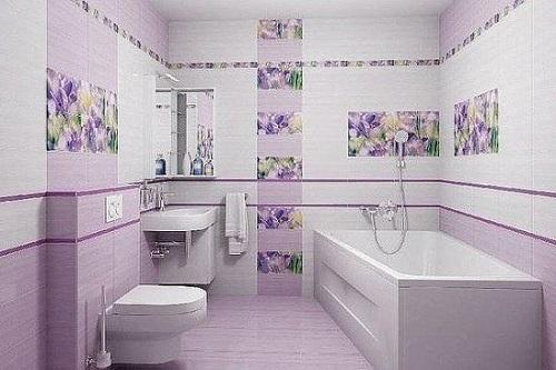 Màu tím nhạt khi được trang trí hoa văn giúp tạo kiểu cho phòng vệ sinh