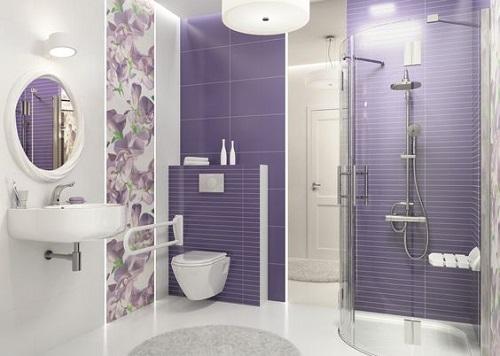 Gạch thẻ màu tím phòng vệ sinh