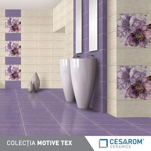 Khi kết hợp với gạch nền màu tím, gạch thẻ sáng màu và những bông hoa trang trí tuyệt đẹp, mang đến không gian không thể tuyệt vời hơn