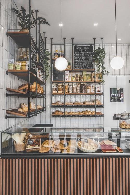 Gạch thẻ màu trắng ốp tường cho không gian quán cafe thật nổi bật
