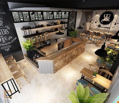Gạch thẻ màu trắng kết hợp với tone màu đen trang trí cho quán cafe cũng rất ấn tượng