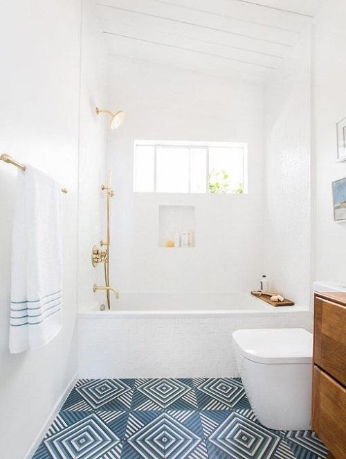 Gạch thẻ màu trắng dùng ốp tường phòng vệ sinh