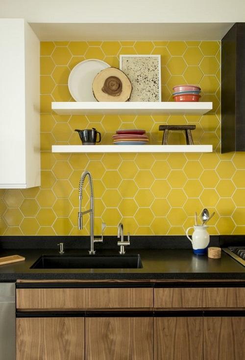 Gạch lục giác màu vàng ốp bếp cho quý khách thêm một lựa chọn