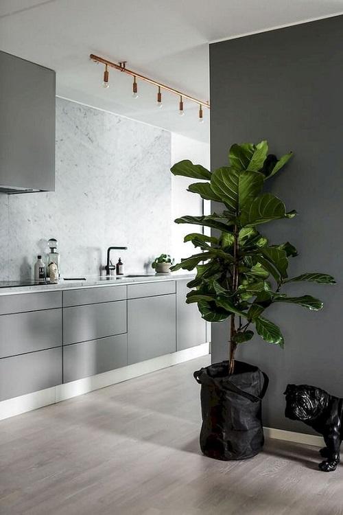 Thêm ý tưởng kết hợp với chậu cây xanh cho không gian bép gần gũi với thiên nhiên.