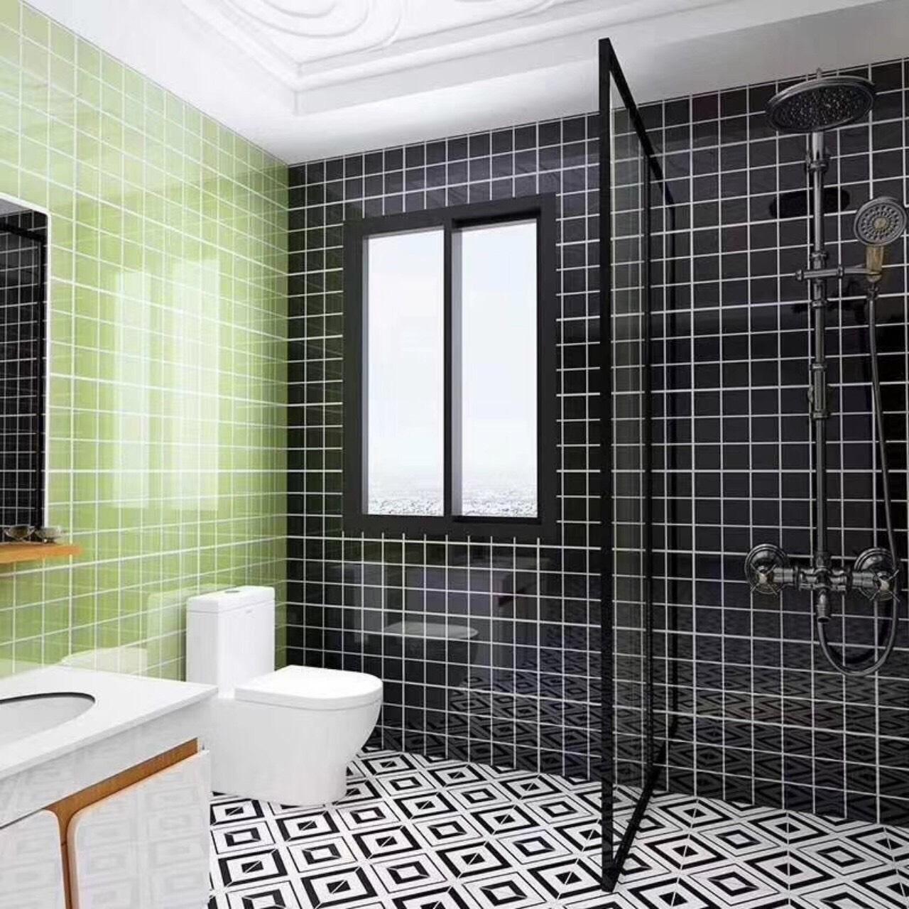 gạch thẻ ốp tường màu xanh lá cây và màu đen