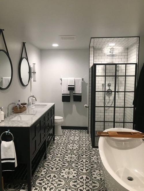 Trang trí bằng gạch bông cổ điển cho phòng vệ sinh vẻ đẹp nổi bật