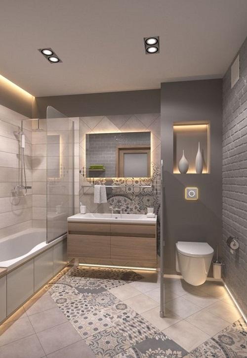 Trang trí bằng gạch bông cổ điển cho phòng vệ sinh dễ dọn dẹp
