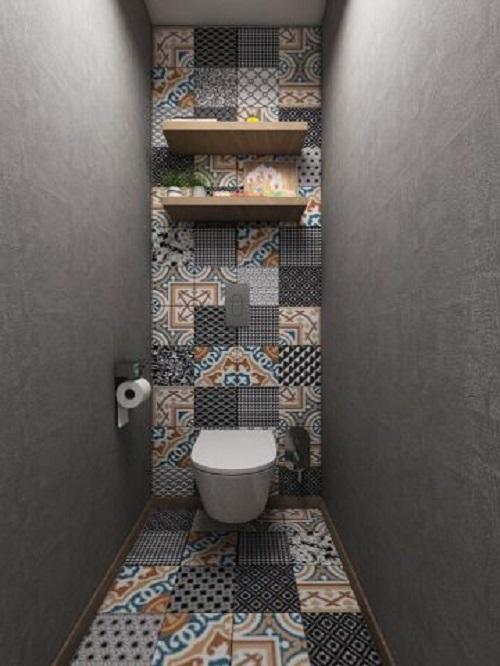 Trang trí bằng gạch bông cổ điển cho phòng vệ sinh hiện đại