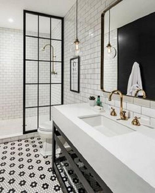 Trang trí bằng gạch bông cổ điển cho phòng vệ sinh sang trọng