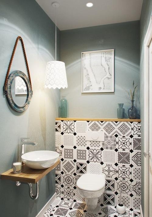 Trang trí bằng gạch bông cổ điển cho phòng vệ sinh thân thiện