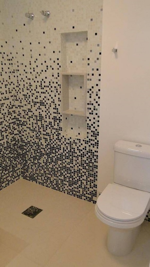 Gạch mosaic thủy tinh màu xám mang phong cách cổ điển