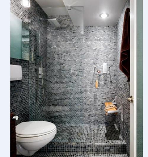 Cũng có khi sử dụng gạch mosaic thủy tinh cho cả gian phòng