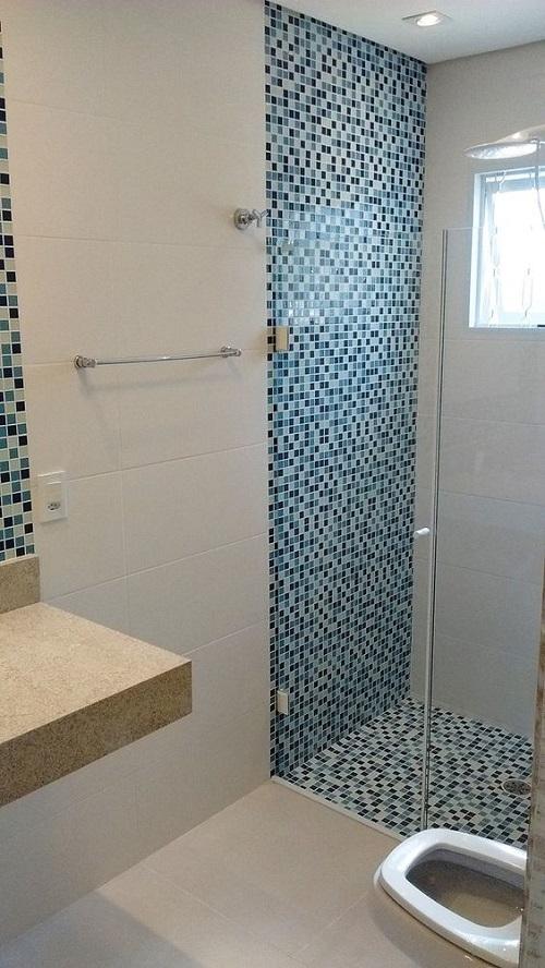 Gạch mosaic thủy tinh màu xám xanh