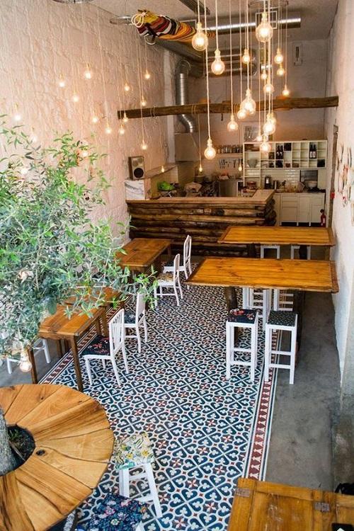 Gạch bông vân cổ điển cho quán cà phê  lau chùi dễ dàng
