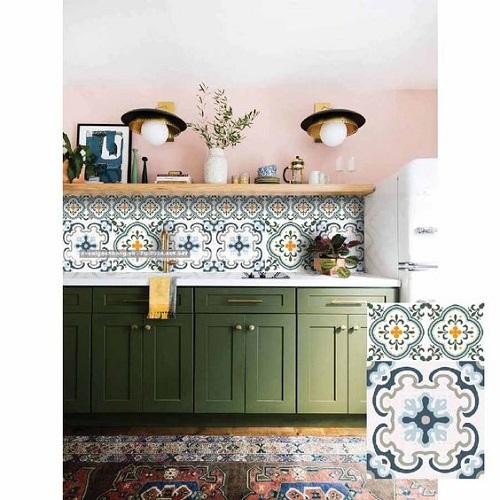 Gạch bông vân cổ điển cho phòng bếp vẻ đẹp nhẹ nhàng