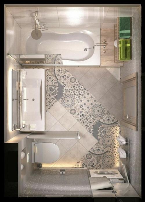 Gạch bông vân cổ điển cho phòng vệ sinh như một bức tranh