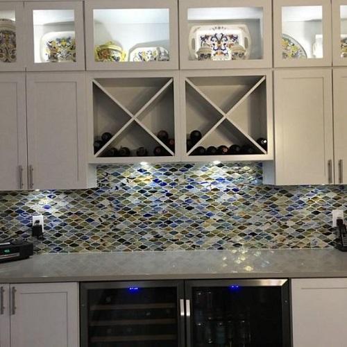 Gạch mosaic thủy tinh màu xanh trơn