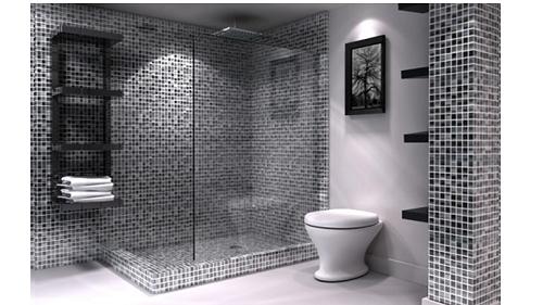 Gạch mosaic thủy tinh màu xám phòng vệ sinh đảm bảo tính thẩm mỹ,