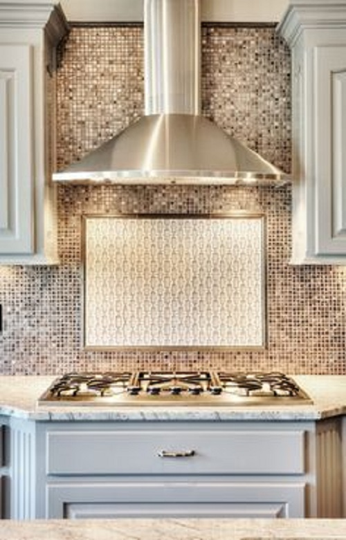Gạch mosaic thủy tinh màu vàng cho bếp sang trọng