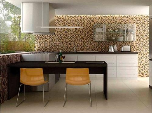 Gạch mosaic thủy tinh màu vàng cho bếp thêm nét nổi trội