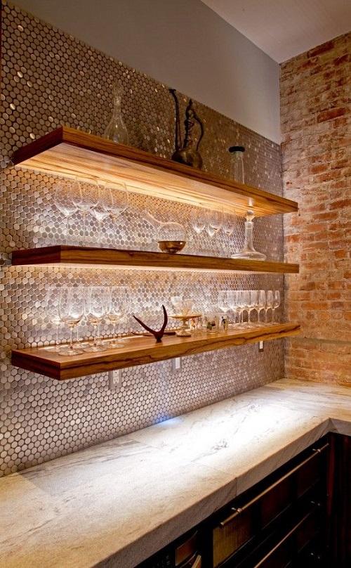 Gạch mosaic thủy tinh màu vàng cho gian bếp sang trọng