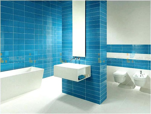 Gạch thẻ màu xanh cho phòng vệ sinh độc đáo và tinh tế