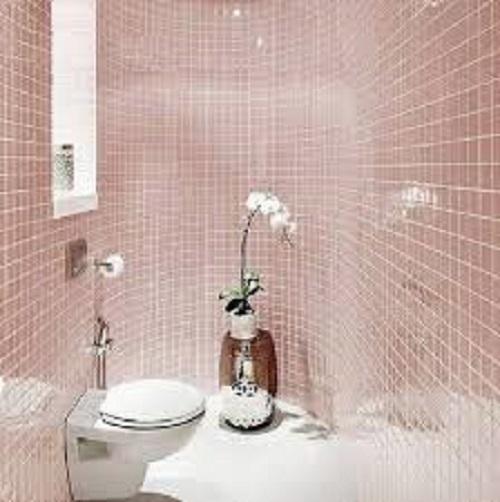 Trang trí bằng Gạch thẻ màu hồng cho phòng vệ sinh dễ lau dọn