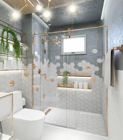 Gạch lục giác màu trắng đem tới không gian hiện đại cho phòng vệ sinh