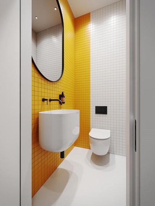 Gạch thẻ màu vàng cho phòng vệ sinh đẹp lung linh