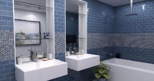 Gạch thẻ màu xanh cho phòng vệ sinh như một bức tranh
