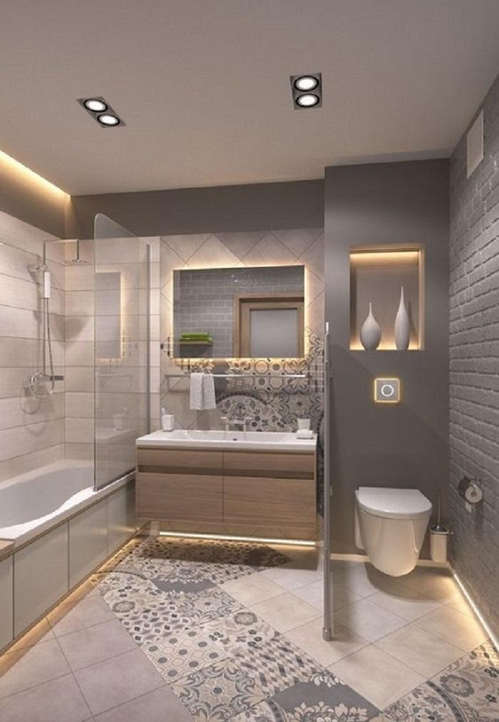 Gạch bông vân cổ điển cho phòng vệ sinh sạch sẽ