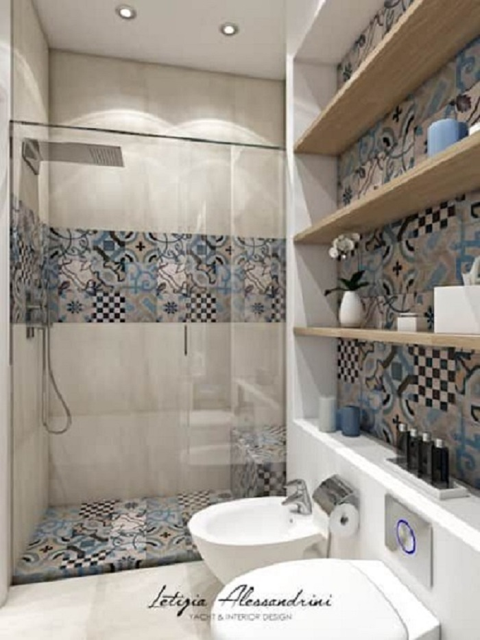 Gạch bông vân cổ điển cho phòng vệ sinh độc đáo
