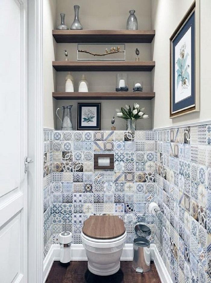 Trang trí phòng vệ sinh bằng Gạch bông vân cổ điển