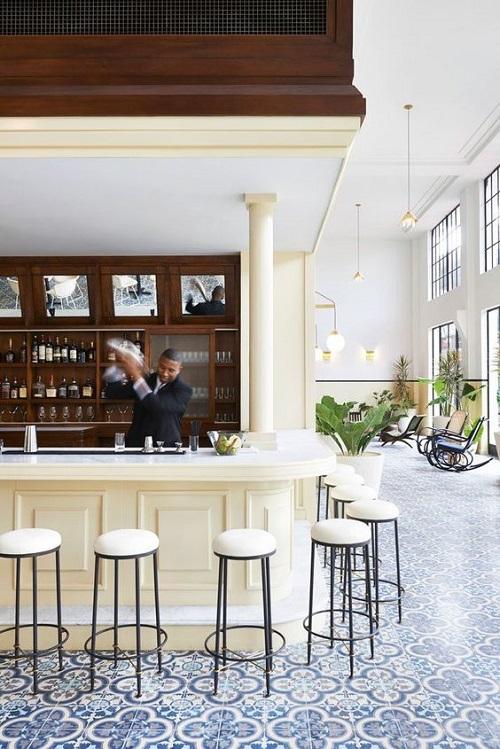 Gạch bông vân cổ điển cho quán cà phê như một bức tranh