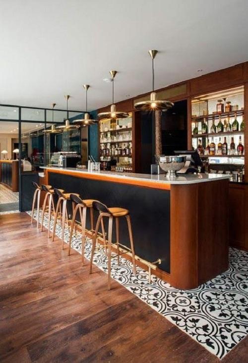 Trang trí quán cà phê bằng gạch bông