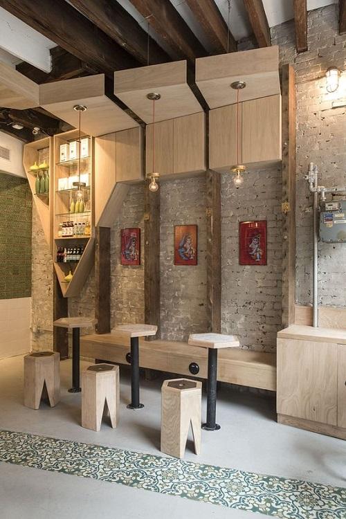 Trang trí bằng gạch bông cổ điển cho quán cà phê sạch sẽ